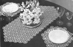 1940s Crochet Placemat and Table Runner by CrochetPatternRewind, $2.50