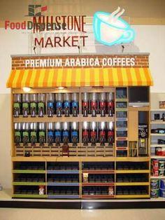 Farmers Market Display, Market Displays, Coffee Company, Visual Merchandising, Wine Rack, Liquor Cabinet, Coffee Cups, Coding, Marketing