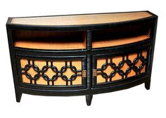 Two Door Wicker and Rattan Console Table