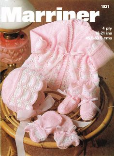baby knitting pattern for   baby  vintage matinee set jacket hat booties mitts 18/21 inch 4 ply