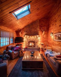 This cabin scores on the cozy scale. We love that soft lighting and that … This cabin scores on the cozy scale. 😍 We love that soft lighting and that fireplace! 🔥 Have you ever stayed in a cabin? TAG a friend who wants to! Cabin Homes, Log Homes, Ideas Cabaña, Decor Ideas, Tiny House, Cabin In The Woods, Luxury Cabin, Getaway Cabins, Beautiful Farm