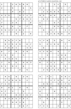 There are 4 sudoku puzzles per page. The printable sudoku puzzles pages below are listed in order of difficulty. If you are new to sudoku, start with an easy puzzle. Sudoku Puzzles, Crossword Puzzles, Logic Puzzles, Mazes For Kids, Printable Puzzles For Kids, Free Printables, English Worksheets For Kids, Fun Math Games, Puzzle Books