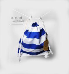 Rucksack Blau-Weiß-Streifen // Backpack blue-white-stripes by CA.ON.IS Leisure Bags via DaWanda.com