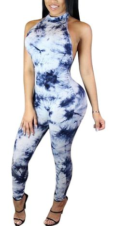 321ad08af1a Mr.Seven Womens Sexy Sleeveless Tie Dye Halter Neck Club Cocktail Jumpsuit  Romper - Blue - C412JN3N43V