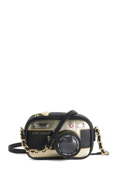 Betsey Johnson Photographic Charm Bag. Life starts to get delightfully meta once you stash a digital camera inside this camera-shaped crossbody bag by Betsey Johnson. #black #modcloth