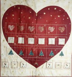 SOLD--ADVENT  CALENDAR Big Red Heart covering the by DonnaleesTreasures, $18.00  www.donnaleestreasures.etsy.com