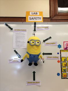 Science Fair Board Decoration Ideas Lovely Lab Safety Minions Setting A Good Example for My Sixth Science Lab Safety, Science Fair, Science Lessons, Science Activities, Lab Safety Activities, Science Ideas, Science Safety Posters, Science Room, Chemistry Experiments
