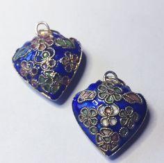 2 BLUE CLOISSONE HEART Pendants or Charms by CoseBelleByMaria