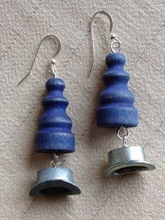 Recycled Wooden Monopoly Game Token Earrings