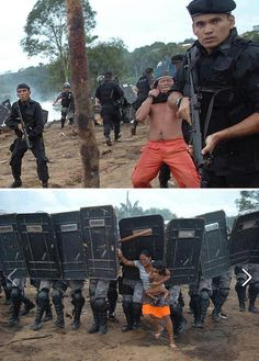 The Kayapo being expelled from their homes for the construction of the Belo Monte Dam, which will flood 400.000 acres of the Amazon Rainforest in Brazil.  Cultural and ecological destruction in progress.