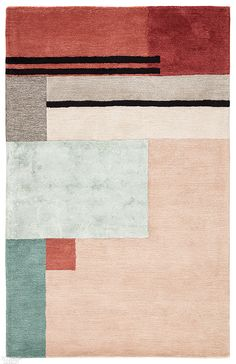The sleek and angular Syntax collection infuses interiors with mid-century modern style. A playful color-block pattern and feminine colorway come together to form the geometric Segment rug's bold and statement-making appeal. Hand tufted of wool and viscos Carpet Decor, Rugs On Carpet, Stair Carpet, Hall Carpet, Carpet Trends, Carpet Ideas, Cheap Carpet Runners, Hand Tufted Rugs, Red Rugs