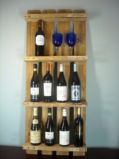 Wood Pallet Wall Wine Shelf ~ another great way to 'show off' your wine bottles.  Simple, yet elegant ~ love it!