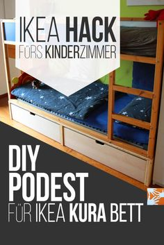 Chaos-free children& and youth room - IKEA Kura Hack , IKEA hack for the children& room: DIY platform for IKEA Kura bed.