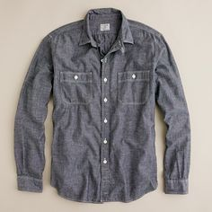 J. Crew - Grey Chambray Utility Shirt I HAVE IT IN BLUE, MY FAVORITE SHIRT! SO CUDDLY - A3