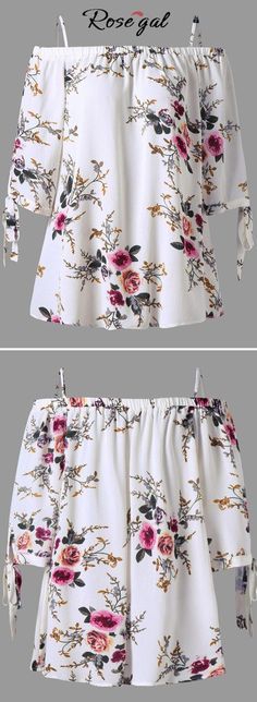 blouses Cheap Blouses & Shirts, Buy Directly from China Suppliers:Feitong Fashion Womens Blouses Plus Size Floral Print Strappy Cold Shoulder Off Shoulder Blouse Casual Tops blusas feminina 2018 Enjoy Shipping Worldwide! Plus Size Blouses, Plus Size Tops, Plus Size Women, Blouse Batik, Floral Blouse, Bohemian Blouses, Fashion Seasons, Fashion Outfits, Womens Fashion