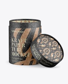 Opened Kraft Paper Tube Mockup. Preview
