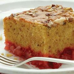 Dump cake 1 20oz can crush pineapple undrained 1 can cherry pie filling 1 classic yellow cake mix 1 cup chopped pecans or walnut 1/2 cup butter or margarine(1 stick)  Recipe is at Duncan Hines.com