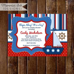 Sailboat Baby Shower Invitation, Sailboat Invite, Nautical Invite, Ships Ahoy Invitation, Sailboat I Nautical Invitations, Printable Invitations, Bridal Shower Invitations, Invitation Design, Sailor Baby Showers, Baby Boy Shower, Baby Shower Labels, Virtual Baby Shower, Nautical Baby