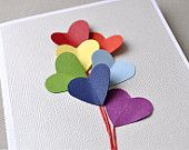 Love is in the air, rainbow heart balloon, blank card.  Valentines, anniversary, love, birthday.. $5.00, via Etsy.