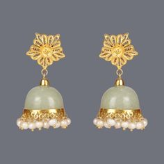 Featuring this aventurine jhumka earrings by Designer Deepa Sethi on Zarilane.com. Go, Grab yourself one Now!