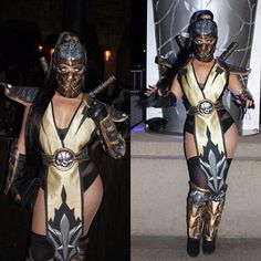 """vintagevandalizm: """" A clear photo of my costume. All I did was buy a mens costume, removed the armor, and created a female version of it. To be honest this was a quick last minute job. The perfectionist in me could have done. Mortal Kombat Costumes Woman, Mortal Kombat Halloween Costume, Badass Halloween Costumes, Black Girl Halloween Costume, Halloween Kostüm, Halloween Outfits, Mortal Kombat Cosplay, Scorpion Halloween Costume, Cosplay Outfits"""
