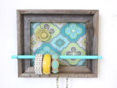 Jewelry Organizer - Jewelry Holder Lemon Yellow Teal 7 silver hooks & Jewelry Bar