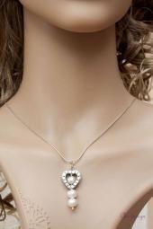 Parel Sieraden: Parelhanger witte zoetwaterparels,    Zilveren hanger van witte parels,