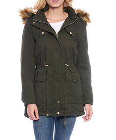 Olive Sherpa-Lined Faux Fur Hood Anorak #zulily #zulilyfinds