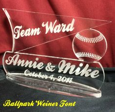 Baseball or Softball Wedding Cake Topper Personalized, Names and Date engraved
