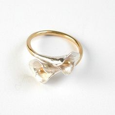 Double Lily Ring, Silver & Gold-Plate Mix