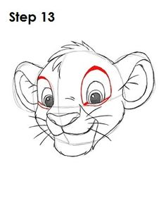 Disney Drawing How to draw Simba Cartoon Sketches, Disney Sketches, Drawing Sketches, Lion Cartoon Drawing, Lion Drawing Easy, Drawing Ideas, Sketching, Simba Disney, Disney Art