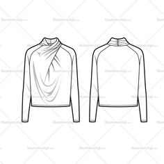 Women's sketch of a drape neck top with long sleeves. Sketches are CADed and the outline strokes are all connected for an easy color, pattern, swatch drop in. Z