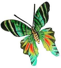 Hand painted butterfly wall décor, Metal wall art, Wonderful handcrafted metal art for your tropical decorating. Handcrafted from recycled steel drum at our workshop in Haiti.Huge hand painted metal butterfly wall hanging measures x Art Tropical, Design Tropical, Tropical Artwork, Tropical Wall Decor, Motif Tropical, Metal Butterfly Wall Art, Butterfly Wall Decor, Butterfly Painting, Butterfly Art