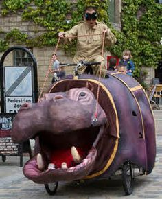 Puppetry - Hippo on wheels. Website also has a yak and a stork (one person puppets but needs a handler)