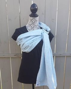 Soft baby sling, Chambray linen blend, soft pale blue, luxurious fabric, gathered shoulder, SALE Pet Sling, Baby Sling, Kangaroo Care, Ring Sling, Pregnant Mom, Stretch Shorts, Size Model, New Moms, Shades Of Blue