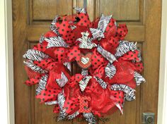 Valentine's Day Deco Mesh Wreath by DeanasDecoDesigns on Etsy, $60.00