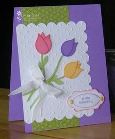Punch ArtTulips bird wing from bird punch made by stampin up
