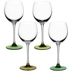 Set of 4 LSA International Coro wine glass, assorted leaf