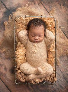 Newborn Knit Romper Newborn Knit Overalls with Lonk Leg