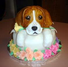 Beagle Cake - This was for someone who loves beagles and flowers. The dog is rkt covered in fondant and the roses are gumpaste. The cake is WASC with raspberry filling. Wasc Cake Recipe, Puppy Birthday Cakes, Fondant, Cute Beagles, Raspberry Filling, Animal Cakes, Dog Cakes, Delicious Cake Recipes, Beagle Dog