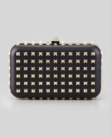 Valentino Rockstud Leather Minaudiere Clutch Bag, Black