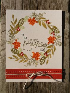 "PTI Create Along With Us August Inspired by Heather""s wreath card on day 3 - jule Birthday Cards For Friends, Handmade Birthday Cards, Happy Birthday Cards, Handmade Cards, Penny Black, Leaf Cards, Fall Birthday, Shaped Cards, Thanksgiving Cards"