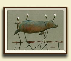 Hippo swimming with lilies africa. Safari decor. Hippopotamus art wall nursery.   Frame and mat not included, just the print. A reproduction