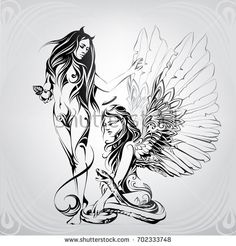 Find Silhouette Angel Demon Ornament stock images in HD and millions of other royalty-free stock photos, illustrations and vectors in the Shutterstock collection. Thousands of new, high-quality pictures added every day. Angel Demon, Angel And Devil, Angel Art, Demon Drawings, Tattoo Drawings, Art Drawings, Pin Up Tattoos, Body Art Tattoos, Brust Tattoo