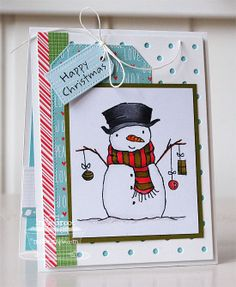 Pure Innocence Trim the Branches Snowman; Swiss Dots Die-namics; Pierced Traditional Tag STAX Die-namics - Inge Groot