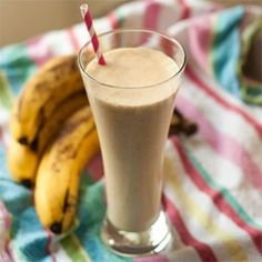 Peanut Butter Banana Smoothie   this is so delicious -- we found out that it is best with fresh bananas and ice cubes, NOT frozen bananas