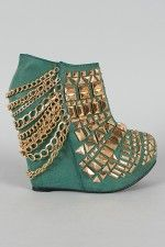 Privileged Rivoli Studded Chain Platform Wedge Bootie