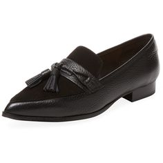PURE NAVY Women's Yapi Tassel Loafer - Black, Size 6 ($50) ❤ liked on Polyvore featuring shoes, loafers, black, black leather loafers, black tassel loafers, leather tassel loafers, black leather shoes and navy blue loafers