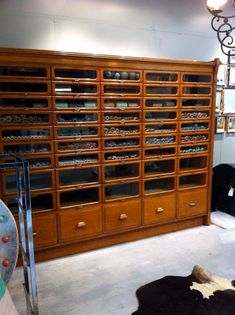 European Antiques : Huge Oak haberdashery cabinet from Menswear store in Paris