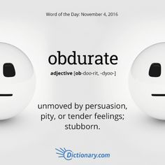 Obdurate definition, unmoved by persuasion, pity, or tender feelings; Unusual Words, Weird Words, Rare Words, Unique Words, Powerful Words, Cool Words, Fancy Words, Big Words, Words To Use